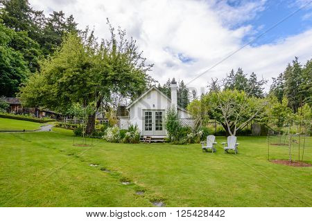 Beautiful country cottage with a large green garden.
