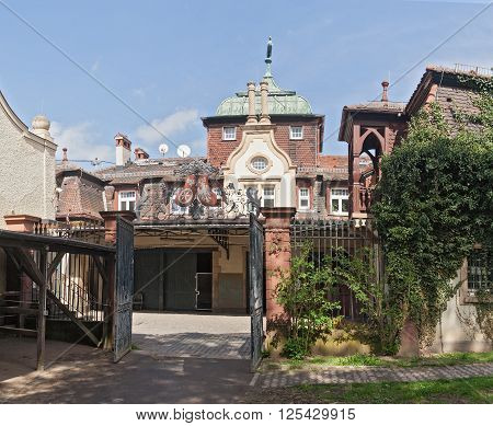 FRANKFURTt, GERMANY-APRIL 12, 2016: old Horse Stable in the grounds of the villa Meister