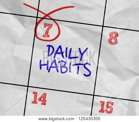 Concept image of a Calendar with the text: Daily Habits