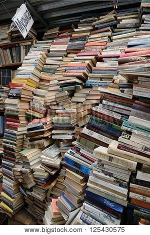Kiev, Ukraine, April 10, 2016. Secondhand bookseller shop