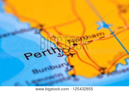 City Of Perth, Australia On The Map