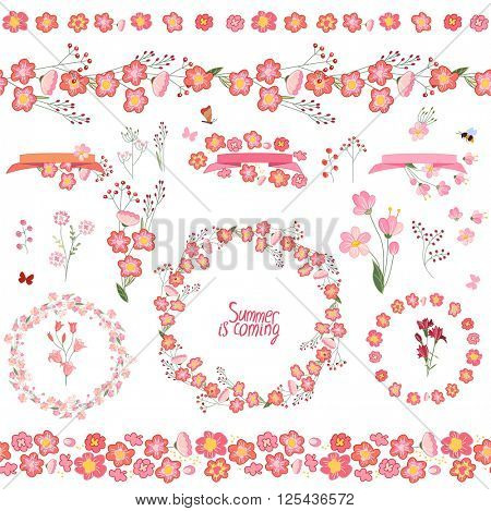 Floral summer elements with cute bunches of stylized flowers. Endless horizontal  pattern brushes. For romantic and easter design, announcements, greeting cards, posters, advertisement.
