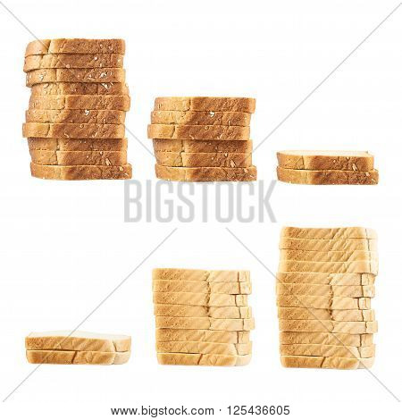 Three piles of toast bread slices isolated over the white background