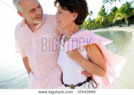 Couple of smiling seniors having a walk by the edge of the sea poster