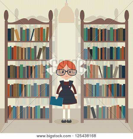 Soviet cartoon schoolgirl in library. Soviet schoolgirl in school uniform. Flat vector illustration. EPS 10.
