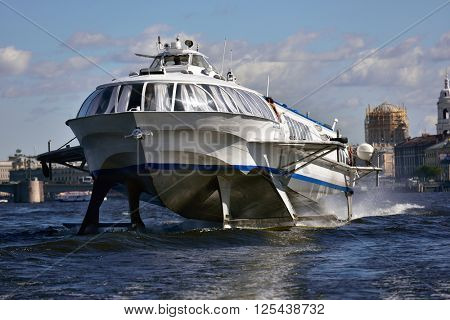 ST. PETERSBURG, RUSSIA - AUGUST 15, 2015: Hydrofoil on the river Neva. Such hydrofoils were produced in 1961-1991 but are still operated today