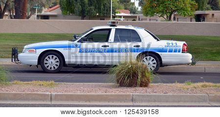 SCOTTSDALE ARIZONA APRIL 23 2014: Police car of Scottsdale  is a city in the eastern part of Maricopa County, Arizona, adjacent to the Greater Phoenix Area.