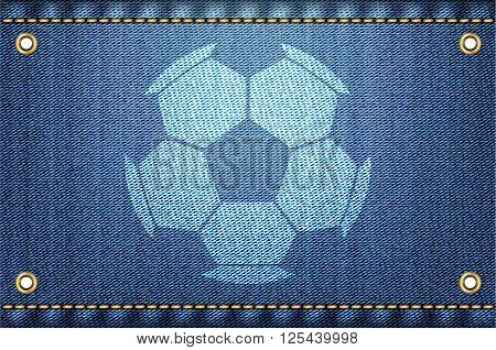 Soccer ball on blue jeans background. Jeans and soccer concept. Denim background for soccer championship. Vector illustration