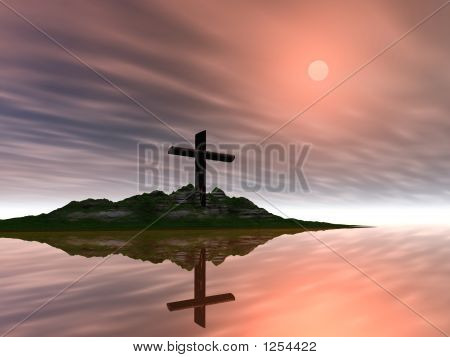 sun setting on a single cross on a hill surrounded by still water with reflection poster