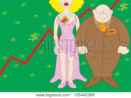 skyrocketing sales best sales team concept vector illustration