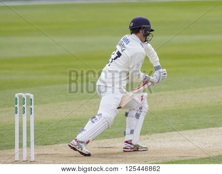 CHELMSFORD, ENGLAND - APRIL 10 2016: During day 1 of the Specsavers County Championship match between Essex and Gloucestershire at the County Ground in Chelmsford, England.