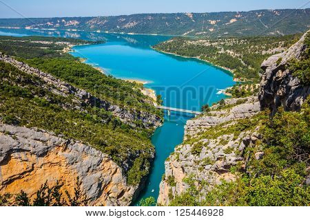 Canyon of Verdon, Provence, France. The largest alpine canyon Verdon spring. Emerald  river is flowing at the bottom of gorge