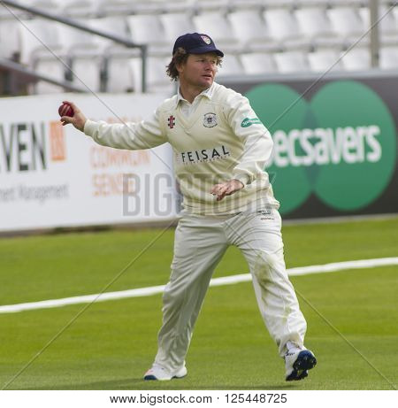 CHELMSFORD, ENGLAND - APRIL 11 2016: Hamish Marshall of Essex during the Specsavers County Championship match between Essex and Gloucestershire at the County Ground in Chelmsford, England.