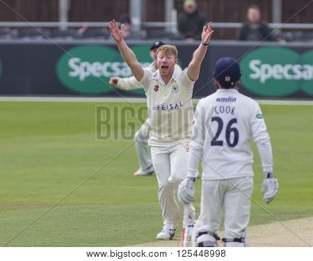 CHELMSFORD, ENGLAND - APRIL 11 2016: Liam Norwell of Gloucestershire makes an unsuccessful appeal for a wicket during the Specsavers County Championship match between Essex and Gloucestershire