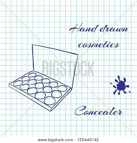 Hand drawn line art cosmetics on notebook paper background. Concealer drawn with a pen. Vector ilustration EPS10