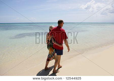 Portrait of a happy senior couple having a walk on the beach