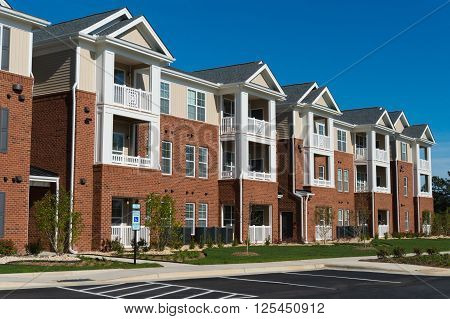 Newly constructed  typical suburban apartment building exterior