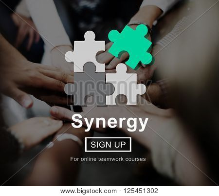Synergy Collaboration Cooperation Teamwork Concept poster