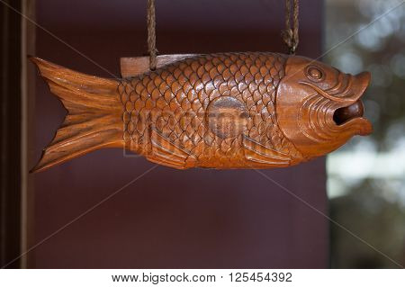 COTIA SP/BRAZIL: JUNE 4TH 2015 - Buddhist temple detail wooden fish