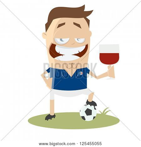 football player with glass of wine