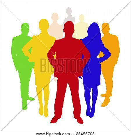 Employee business team as a silhoutte in different colors