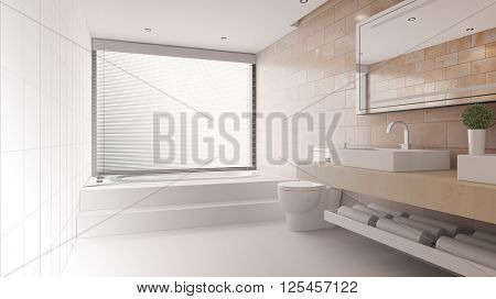 Bathroom with gradient from CAD wireframe mesh to 3D Rendering