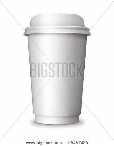 Paper Coffee cup take away take out or take home Paper cup with blank copy space ideal for hot drink coffee tea chocolate isolated on white background with clip path.