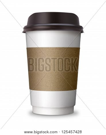 Paper Coffee cup take away take out or take home Paper cup with blank copy space ideal for hot drink coffee tea chocolate beverage isolated on white background with clip path. poster