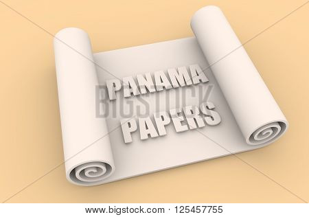 The panama papers leaks relative image. Politic and economic scandal event. 3D rendering