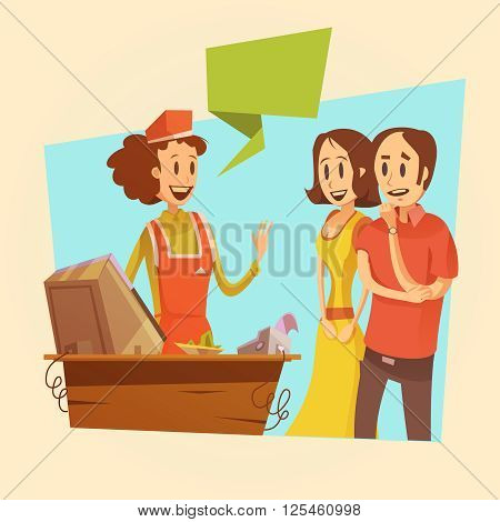 Saleswoman and customers at pay desk retro background  cartoon vector illustration