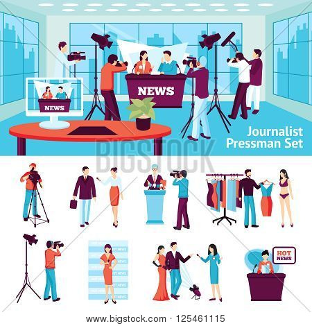 Journalist and pressmen  set with hot news ad conference symbols flat isolated vector illustration