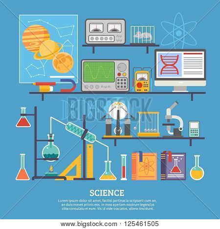 Biochemistry scientific research laboratory flat poster with microscope chemical reaction tests and control mouse vector illustration