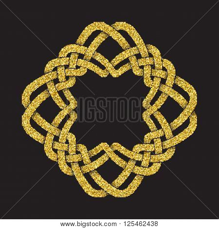 Golden glittering logo template in Celtic knots style on black background. Tribal gold sign in mandala form.