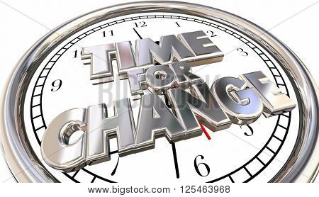 Time for Change Words Adapt Innovate Evolve Clock 3d