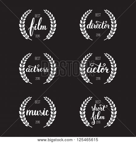 Set of awards for best film actor actress director music and short film with wreath and 2016 text. White color film award wreaths isolated on the black background