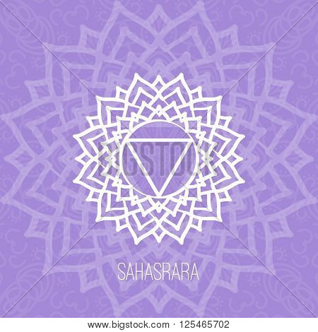 Lines geometric illustration of one of the seven chakras-Sahasrara on the violet background the symbol of Hinduism Buddhism. Hand painted mandala texture. For design associated with yoga and India.