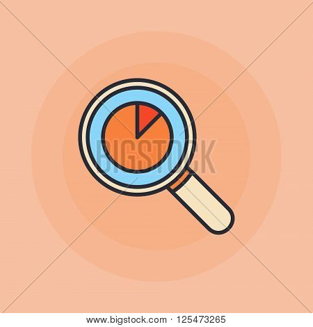 Magnifying glass with pie chart flat icon - vector colorful business analysis symbol or data analytics sign