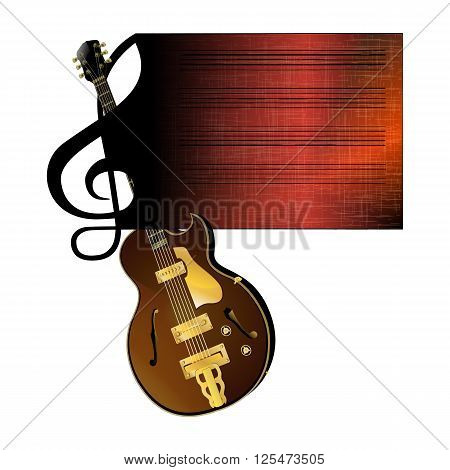 Vector illustration of a treble clef stave flowing in with the jazz guitar. Isolated object on a white background can be used with any image there is room for text.