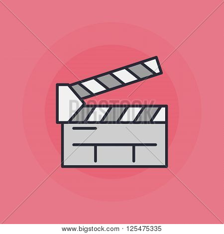 Clapboard flat icon - vector colorful cinema clapboard symbol or sign on pink background