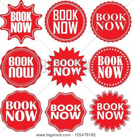 Book Now Red Label. Book Now Red Sign. Book Now Red Banner. Vector Illustration