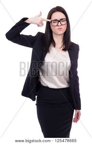 Portrait Of Stressed Young Business Woman Showing Suicide Gesture Isolated On White