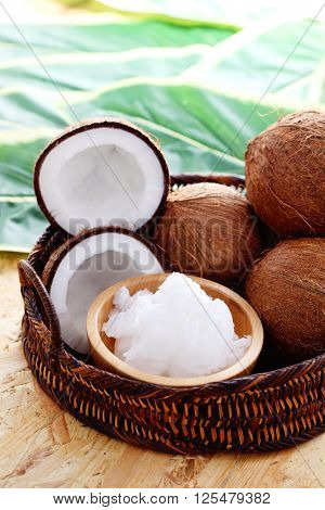 coconut oil with fresh coconut - food and drink