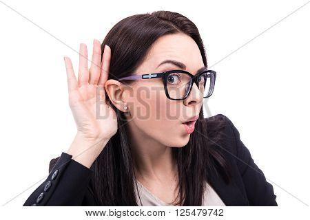 Gossip Concept - Young Business Woman Overhears A Conversation Isolated On White