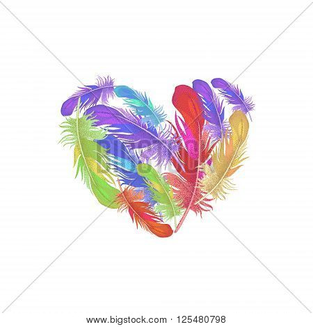 Illustration of St. Valentine's Day. Valentine heart. Vector design Valentine's Day. Template of colored feathers in the shape of a heart for Valentine's Day. Heartfelt message of Valentine's Day.