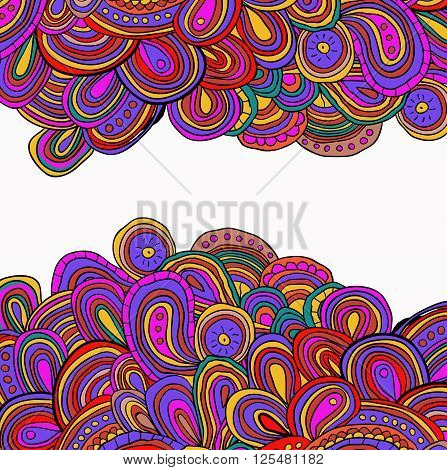 Up and Down side tracery card with bright hand drawn ornament. Pink, violet and yellow abstract ornaments. Can be used as card, invitation. Cinco de mayo. Ethnic background.
