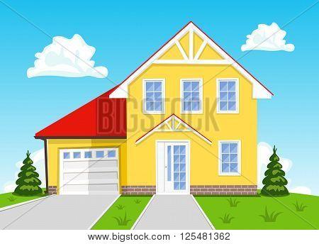 Colorful vector cartoon house on blue sky background. Illustration