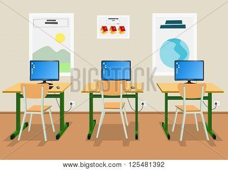 Vector illustration of an empty high school classroom
