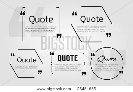 Quote blanks templates with text bubble with Commas. Vector Empty template for notemessage comment. Dialog box. Quote bubble Quote design quoting box. Quote form. White quote blank icon isolated