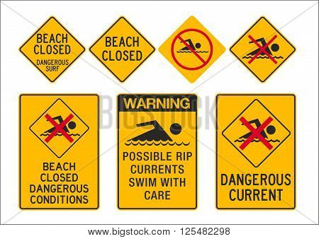 Vector illustration of different beach closed and dangerous current signs