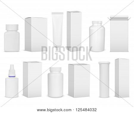Blank set of plastic packaging bottles with box for pills